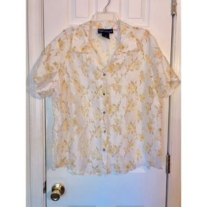 Susan Graver Yellow Floral Sheer Top Size 1X